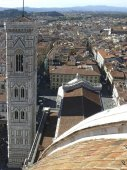 Campanile of the Cathedral of Santa Maria del Fiore and the city of Florence — Stock Photo