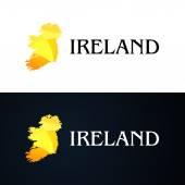 Golden Logo with Ireland Contour — Stock Vector