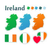 Set of icons with flags and map of Ireland — Stock Vector