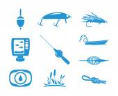 Collection of Fishing icons — Stock Vector