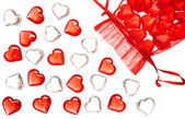 Group of red and white glass hearts — Stock Photo