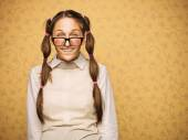 Portrait of young female nerd — Stock Photo