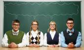Four nerds — Stock Photo