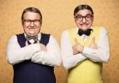 Portrait of two nerds — Stock Photo