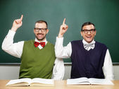 Two nerds with an idea — Stock Photo