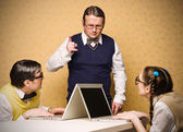 Nerd is lecturing younger nerds — Stock Photo