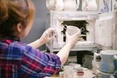 Pottery artist baking ware — Stock Photo