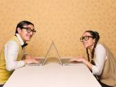 Young nerds chatting — Foto Stock