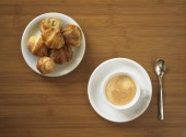 Espresso with small croissants — Stock Photo
