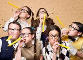 Nerd crew at the party — Stock Photo