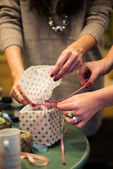 Two women making package preparation — Stock Photo