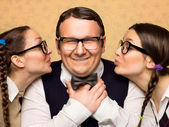 Two female nerds in love — Stock Photo