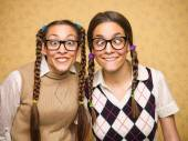 Young female nerds — Stock Photo