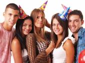 Young people on birthday party — Stock Photo