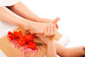 Foot massage at spa — Stock Photo