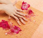 Nail treatment at spa — Stock Photo