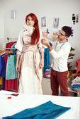 Projektant sukienka do pomiaru — Zdjęcie stockowe