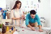 Designers measuring material — Stock Photo