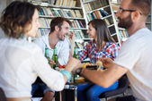 Friends on lunch at house — Stock Photo