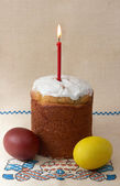 Easter cake with eggs and candle — Stock Photo