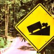 Caution - traffic signs beside country road — Stock Photo #60024389