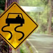 Caution - traffic signs beside country road — Stock Photo #60024501