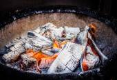 Red - hot charcoal ready for grill — Stock Photo