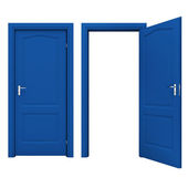 Open blue door isolated on a white background — 图库照片