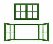 暗い緑の窓枠 — ストック写真