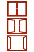 Red window frame — Stock Photo