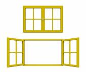 Yellow window frame — Stock Photo