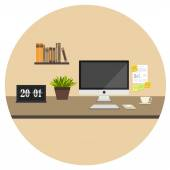 Office flat icon — Vetor de Stock
