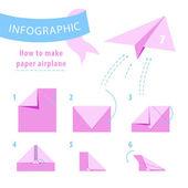 Infográfico. Instruções para fazer o avião de papel. Rosa e azul. Ilustração vetorial — Vetor de Stock