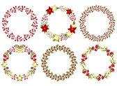 Christmas wreath set — Stock Vector