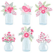 Wedding pink flowers in mason jars — Stock Vector