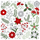 Christmas flowers — Stock Vector
