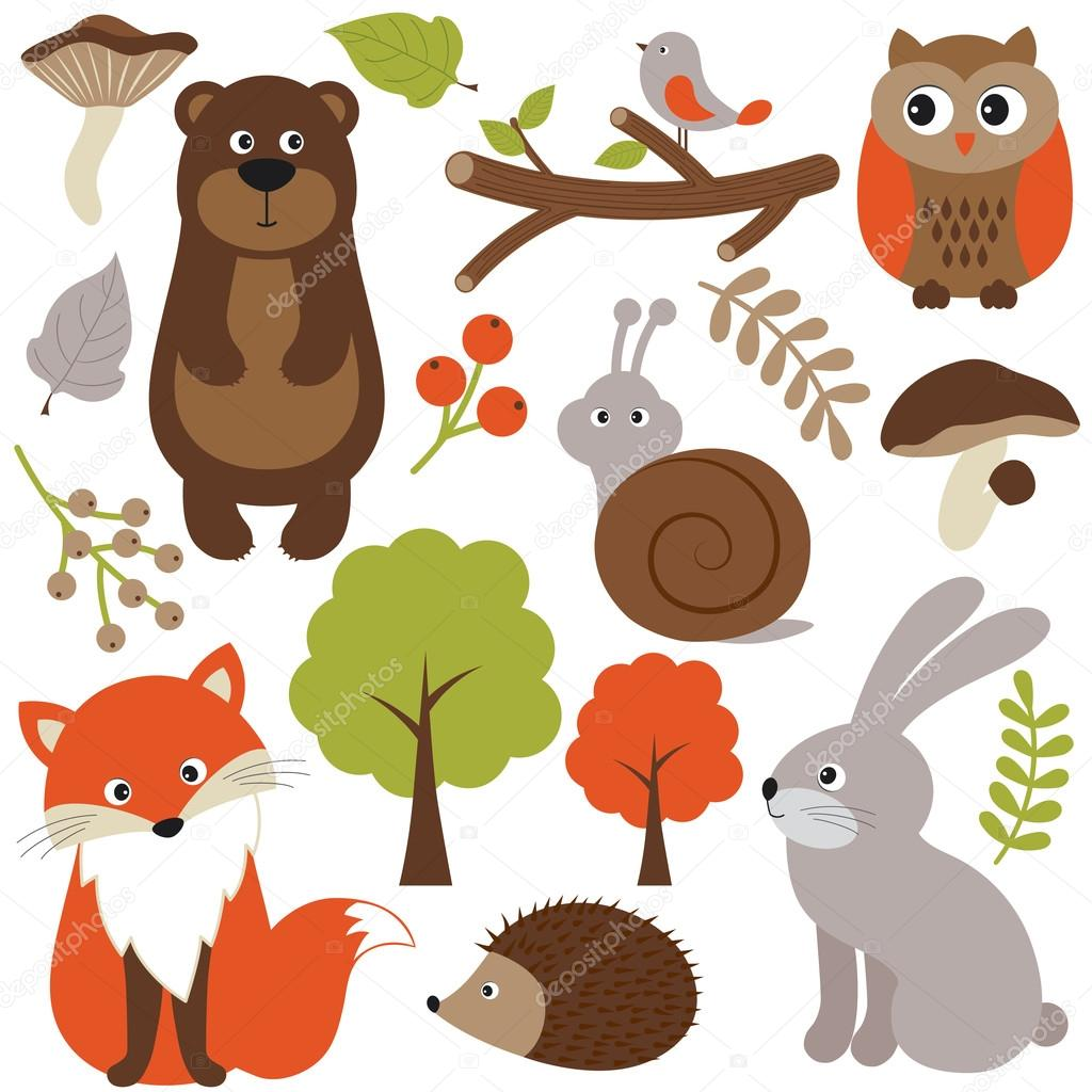 Set di animali del bosco — vettoriali stock marlenes