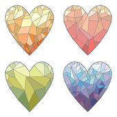Set of polygonal colored hearts — Stock Vector