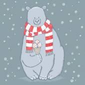 Cute bear with ice cream — Wektor stockowy