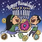 Funny Happy Hanukkah greeting card. Vector illustration — Stock Vector