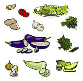 Funny vector cartoon colorfull vegetables icon set isolated back — Stock Vector