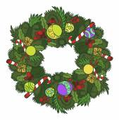 Funny vector cartoon colorfull Christmas wreath. Vector illustration — Stock Vector