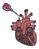 Funny vector cartoon colorfull heart like a motor — Stock Vector