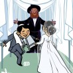 Happy wedding greeting card. Vector illustration — Stock Vector #60890487