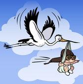 Vector stork carries newborn — Stock Vector