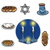 Shabbats icon set.Vector illustration — Stock Vector