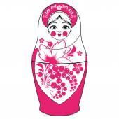 Funny vector cartoon colorfull russian traditional doll - matres — Stock Vector