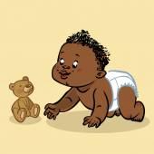 Funny vector cartoon colorfull crawling black baby. Vector illus — Stock Vector