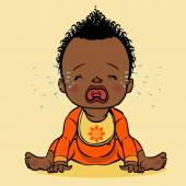 Crying black baby. vector illustration — Stock Vector