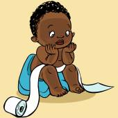 Cute cartoon baby in the toilet.Vector illustration — Stock Vector